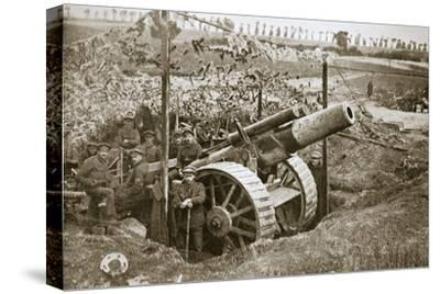 A heavy howitzer, Somme campaign, France, World War I, 1916-Unknown-Stretched Canvas Print