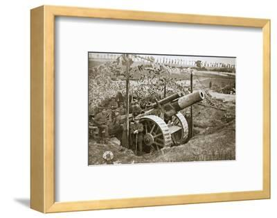 A heavy howitzer, Somme campaign, France, World War I, 1916-Unknown-Framed Photographic Print
