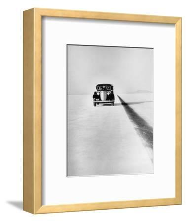 A Ford Lincoln on the Bonneville Salt Flats, Utah, 1935-Unknown-Framed Photographic Print