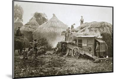 Threshing for straw for soldiers' use, France, World War I, 1916-Unknown-Mounted Photographic Print