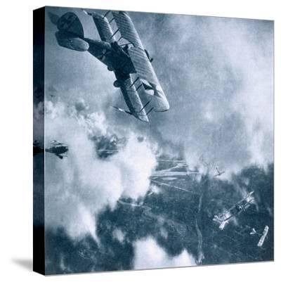Aerial combat on the Western Front, World War I, 1914-1918-Unknown-Stretched Canvas Print