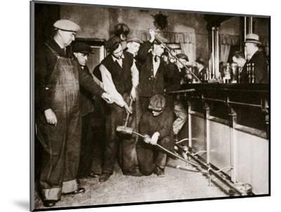 A bar in Camden, New Jersey, being forcibly dismantled by dry agents, USA, 1920s-Unknown-Mounted Photographic Print