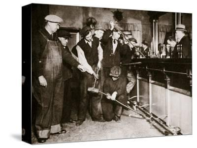 A bar in Camden, New Jersey, being forcibly dismantled by dry agents, USA, 1920s-Unknown-Stretched Canvas Print
