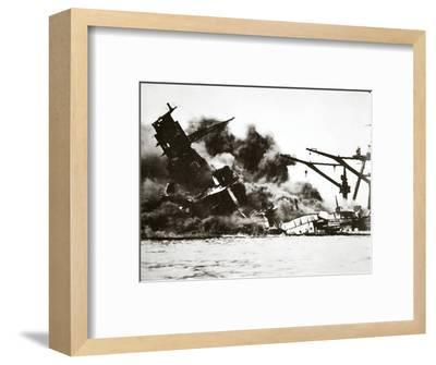 Battleship USS 'Arizona' (BB-39) sinking during the attack on Pearl Harbour, 1941-Unknown-Framed Photographic Print
