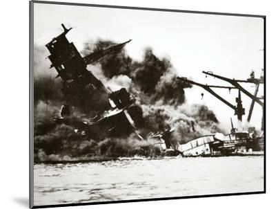 Battleship USS 'Arizona' (BB-39) sinking during the attack on Pearl Harbour, 1941-Unknown-Mounted Photographic Print