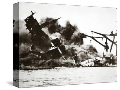 Battleship USS 'Arizona' (BB-39) sinking during the attack on Pearl Harbour, 1941-Unknown-Stretched Canvas Print