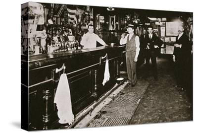 Steve Brodie in his bar, the New York City Tavern, New York City, USA, c1890s-Unknown-Stretched Canvas Print