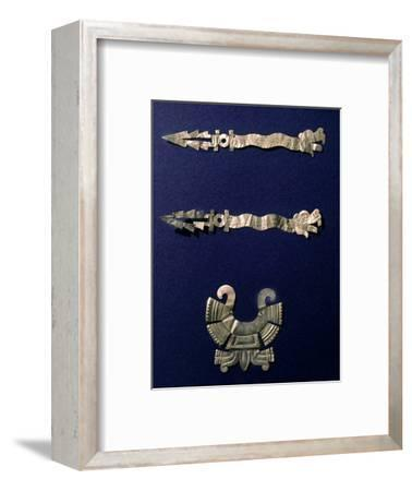 Gold labret and two xiuhcoatl ('fire serpents'), Aztec, Mexico, c1500-Werner Forman-Framed Photographic Print