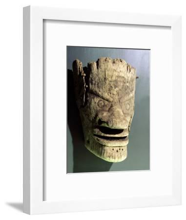 Wooden death mask, Eskimo or Aleut, Aleutian Islands-Werner Forman-Framed Photographic Print
