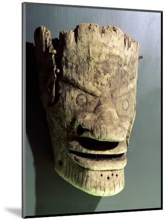 Wooden death mask, Eskimo or Aleut, Aleutian Islands-Werner Forman-Mounted Photographic Print