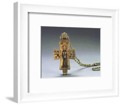 Enamelled gold pendant cross and chain, Byzantine, 10th century-Werner Forman-Framed Photographic Print
