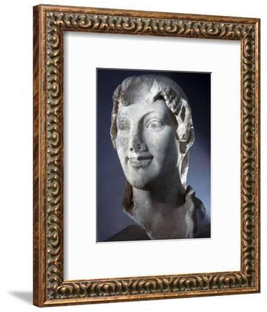Marble head of the Goddess Kore (Persephone), Ancient Greek, Archaic period, 650-480 BC-Werner Forman-Framed Photographic Print