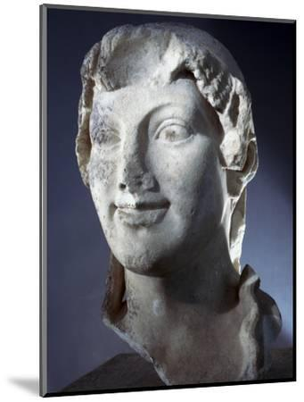 Marble head of the Goddess Kore (Persephone), Ancient Greek, Archaic period, 650-480 BC-Werner Forman-Mounted Photographic Print