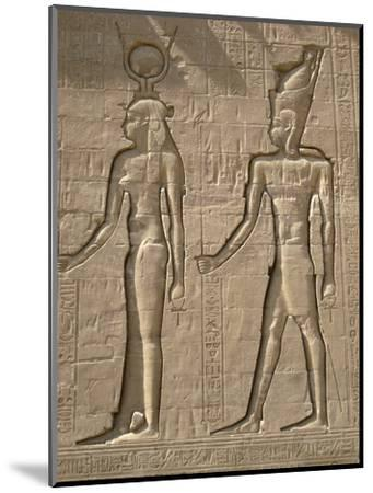 Reliefs on the outer back wall of the temple complex of Edfu, Egypt-Werner Forman-Mounted Photographic Print