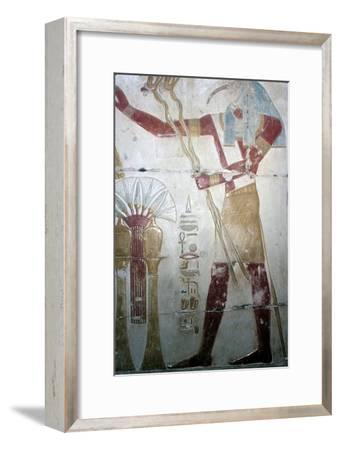 Wallpainting of Thoth (Ibis-headed god), Temple of Sethos I, Abydos, Egyptian, c1280 BC-Unknown-Framed Giclee Print