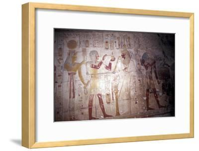 Painted relief of Sethos before Osiris, Temple of Sethos, Abydos, Egypt, 19th Dynasty, c1280 BC-Unknown-Framed Giclee Print