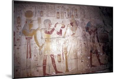 Painted relief of Sethos before Osiris, Temple of Sethos, Abydos, Egypt, 19th Dynasty, c1280 BC-Unknown-Mounted Giclee Print