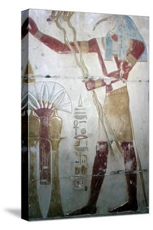 Wallpainting of Thoth (Ibis-headed god), Temple of Sethos I, Abydos, Egyptian, c1280 BC-Unknown-Stretched Canvas Print