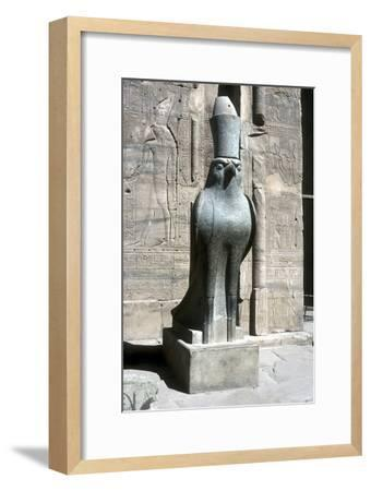 Statue of the god Horus, Temple of Horus, Edfu, Egypt, Ptolemaic Period, c251 BC-c246 BC-Unknown-Framed Giclee Print