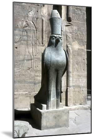 Statue of the god Horus, Temple of Horus, Edfu, Egypt, Ptolemaic Period, c251 BC-c246 BC-Unknown-Mounted Giclee Print