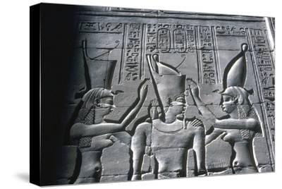 Close up of Pharaoh wearing Double Crown, Temple of Horus, Edfu, Egypt, c251-c246BC-Unknown-Stretched Canvas Print