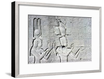 Horizontal detail of a relief of Cleopatra and Caesarion ,Temple of Hathor, c125 BC - c60 AD-Unknown-Framed Giclee Print