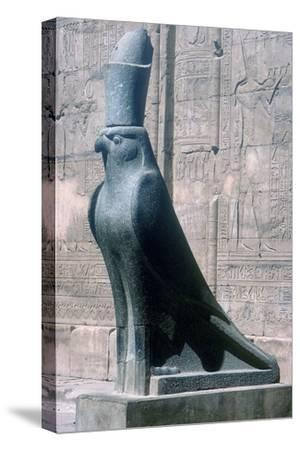 Figure of the god Horus in the form of a falcon, Temple of Horus, Edfu, Egypt, c251BC-c246BC-Unknown-Stretched Canvas Print