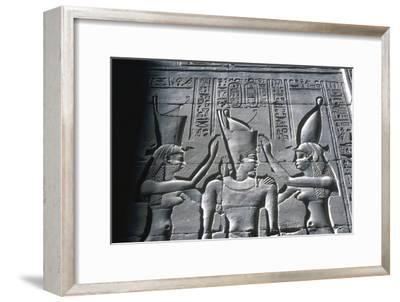 Close up of Pharaoh wearing Double Crown, Temple of Horus, Edfu, Egypt, c251-c246BC-Unknown-Framed Giclee Print