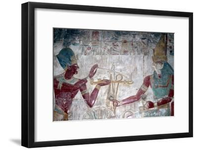 Wallpainting (detail) of Sethos I before Horus, Temple of Sethos I, Abydos, Egypt, c1280 BC-Unknown-Framed Giclee Print