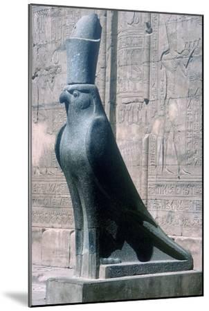 Figure of the god Horus in the form of a falcon, Temple of Horus, Edfu, Egypt, c251BC-c246BC-Unknown-Mounted Giclee Print