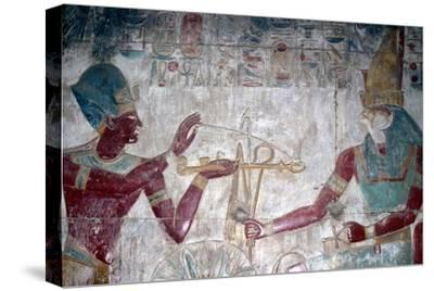 Wallpainting (detail) of Sethos I before Horus, Temple of Sethos I, Abydos, Egypt, c1280 BC-Unknown-Stretched Canvas Print