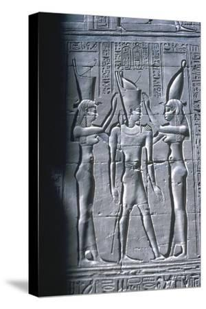 Relief of the Pharaoh between two goddesses, Temple of Horus, Edfu, Egypt, c251BC-c246BC-Unknown-Stretched Canvas Print