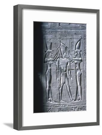 Relief of the Pharaoh between two goddesses, Temple of Horus, Edfu, Egypt, c251BC-c246BC-Unknown-Framed Giclee Print