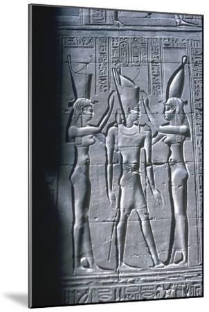 Relief of the Pharaoh between two goddesses, Temple of Horus, Edfu, Egypt, c251BC-c246BC-Unknown-Mounted Giclee Print