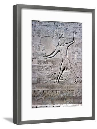 Detail of a relief of Pharaoh smiting his enemies, Temple of Khnum, Ptolemaic & Roman Periods-Unknown-Framed Giclee Print
