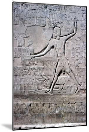 Detail of a relief of Pharaoh smiting his enemies, Temple of Khnum, Ptolemaic & Roman Periods-Unknown-Mounted Giclee Print