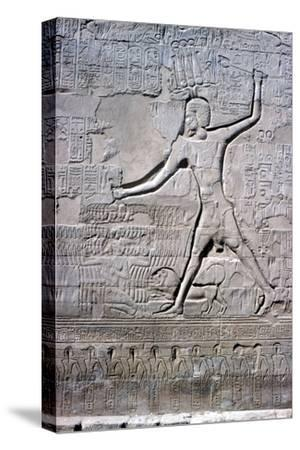 Detail of a relief of Pharaoh smiting his enemies, Temple of Khnum, Ptolemaic & Roman Periods-Unknown-Stretched Canvas Print