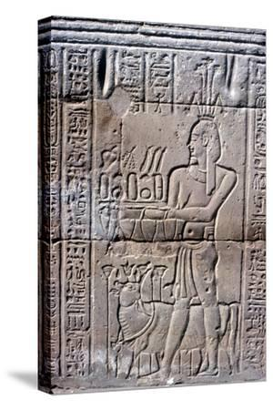 Relief of Hapi (Hapy) god of the Nile in Flood, Temple of Khnum, Ptolemaic & Roman Periods-Unknown-Stretched Canvas Print