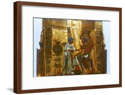 Golden throne of Tutankhamun, Ancient Egyptian, 18th dynasty, New Kingdom, 14th century BC-Unknown-Framed Giclee Print