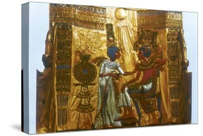Golden throne of Tutankhamun, Ancient Egyptian, 18th dynasty, New Kingdom, 14th century BC-Unknown-Stretched Canvas Print