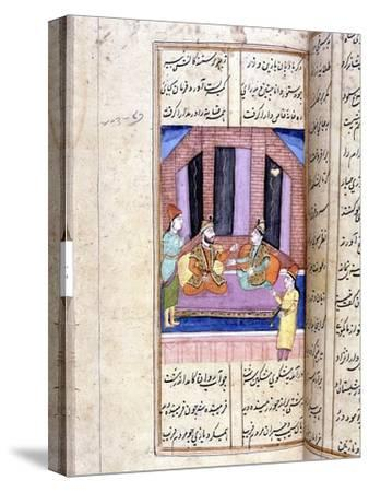 Nezami, Persian poet, recounting the story of Alexander the Great, 12th century (18th century)-Unknown-Stretched Canvas Print