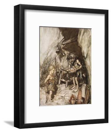 Mime and the infant', 1924-Arthur Rackham-Framed Giclee Print