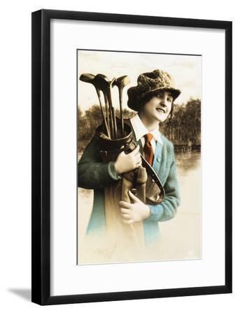 Woman golfer, postcard, c1910-Unknown-Framed Giclee Print