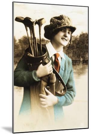Woman golfer, postcard, c1910-Unknown-Mounted Giclee Print