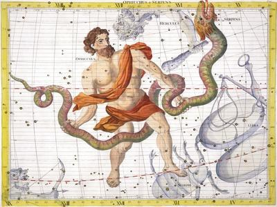 Constellation of Ophiucus, 1729-Unknown-Framed Giclee Print