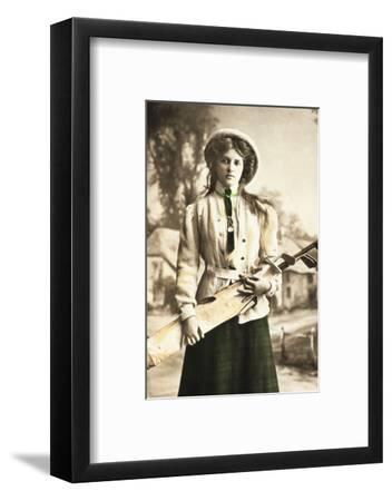 Postcard of a woman golfer, c1912-Unknown-Framed Photographic Print