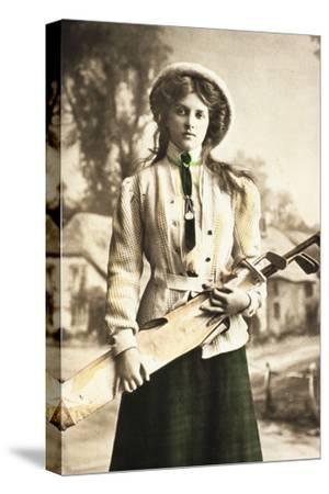 Postcard of a woman golfer, c1912-Unknown-Stretched Canvas Print