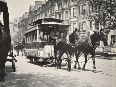 Horse-drawn tram, USA, early 1900s-Unknown-Framed Photographic Print