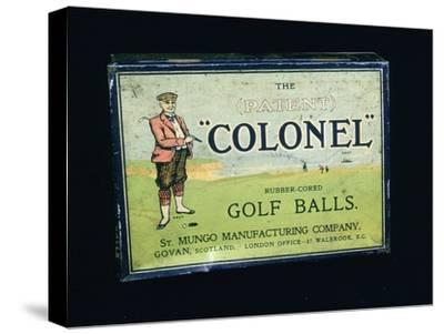 Tin of 'Colonel' golf balls, c1909-Unknown-Stretched Canvas Print
