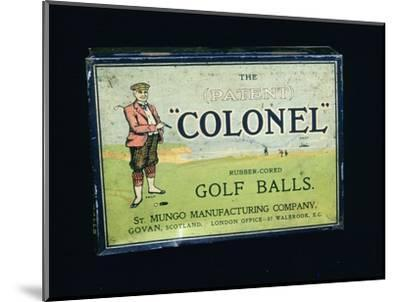 Tin of 'Colonel' golf balls, c1909-Unknown-Mounted Giclee Print